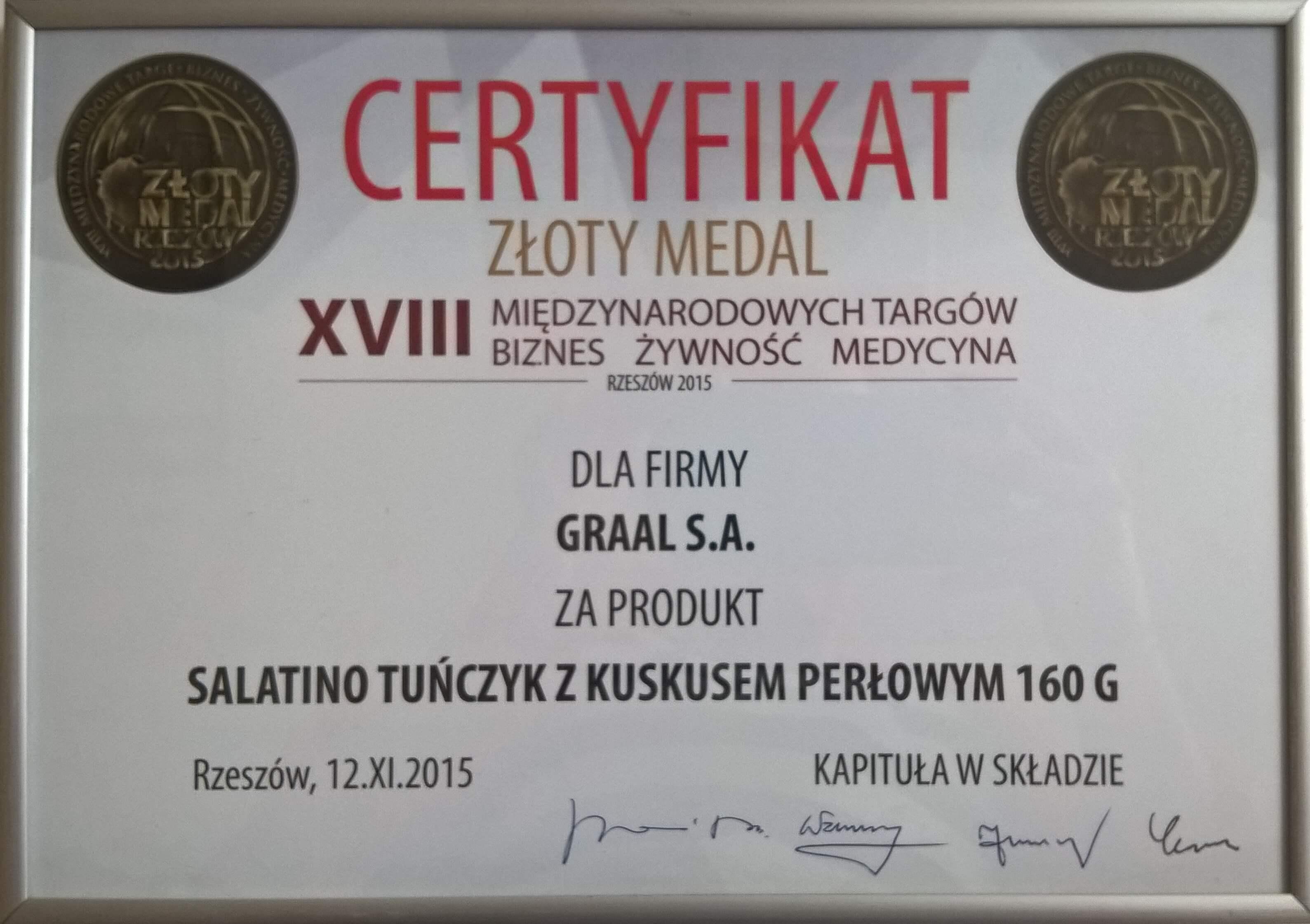 Złoty Medal dla Salatino Tuńczyk z Kuskusem Perłowym